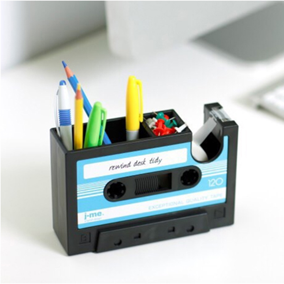 Cassette Tape Dispenser & Pen Holder