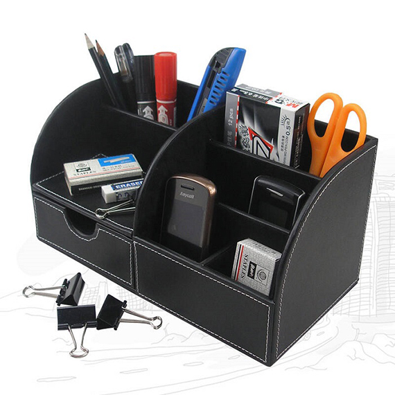 Leather Desktop Storage Box