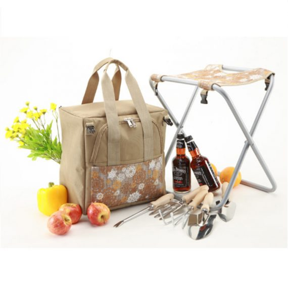 Garden Toolkit with Foldable Chair